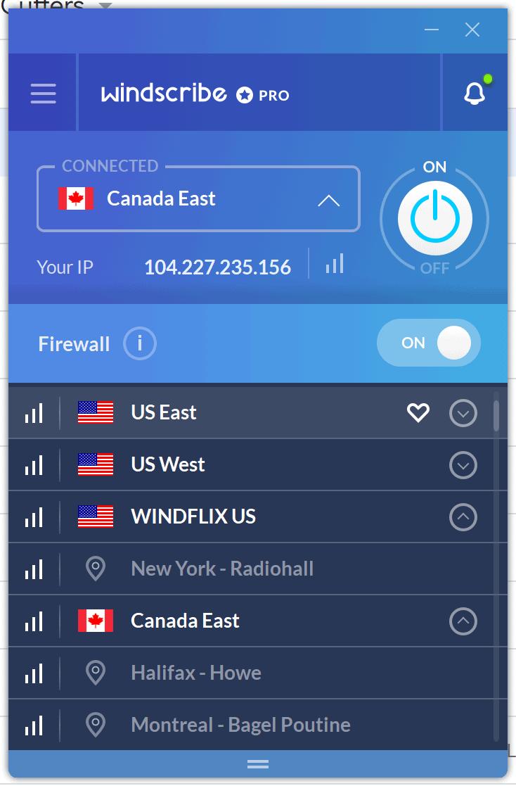 Windscribe VPN Servers