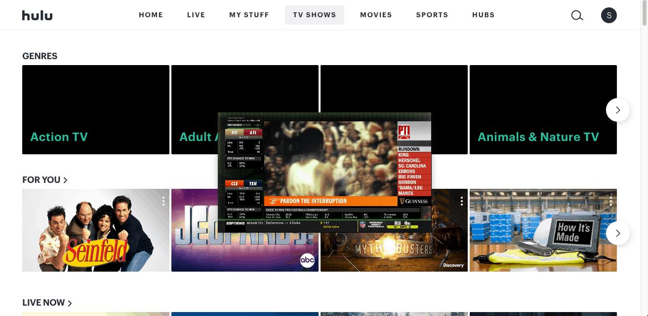 Hulu + Live TV - browser - inset live screen dead center