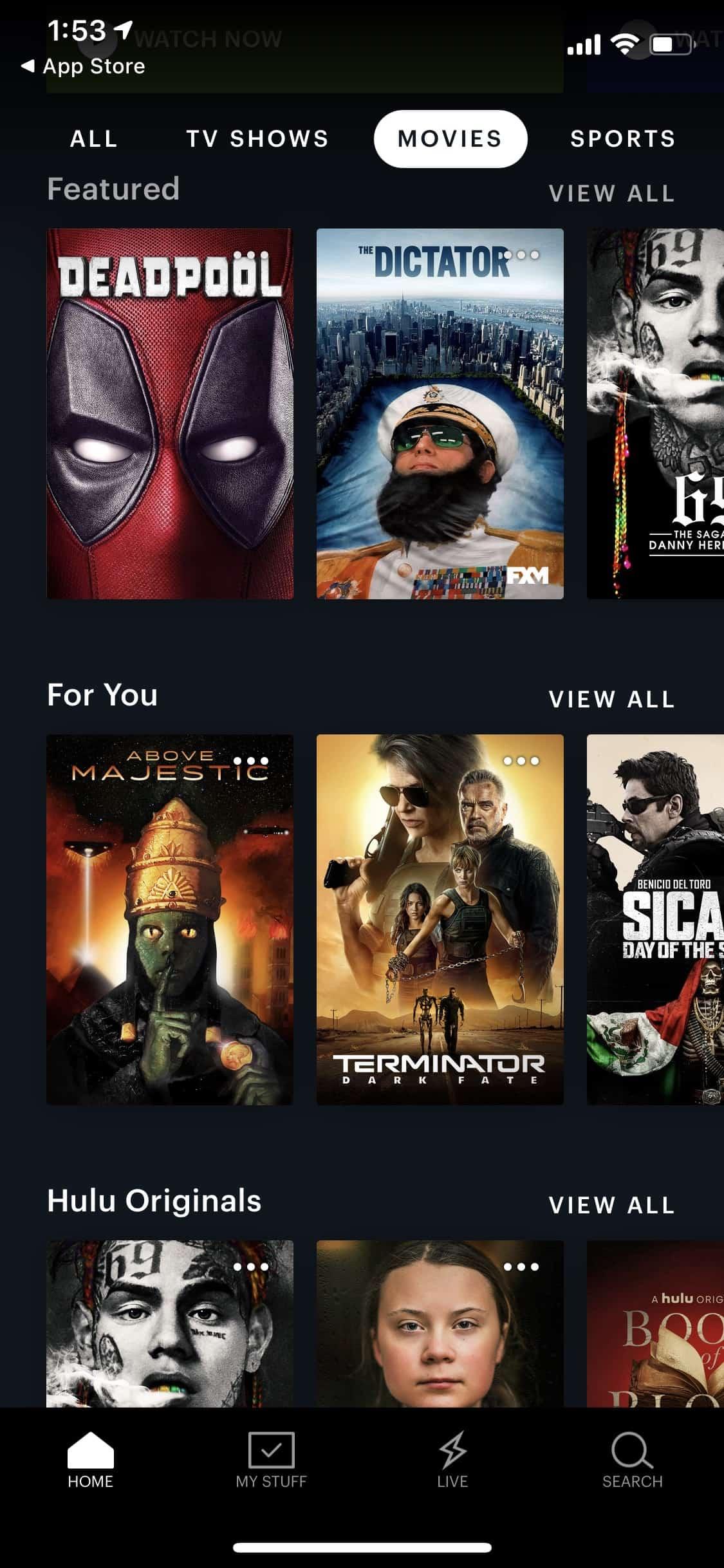 Hulu + Live TV - iOS - Movies