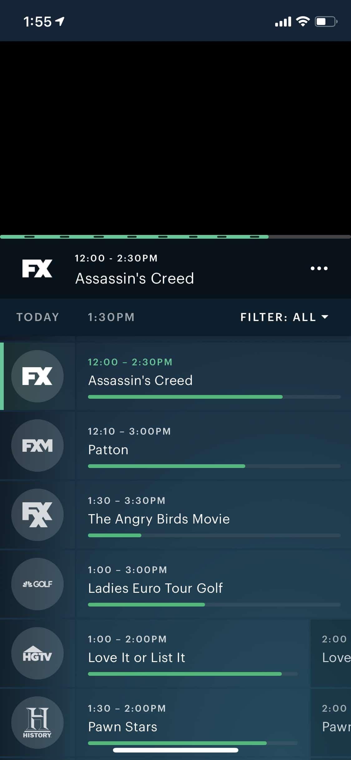 Hulu + Live TV - iOS - TV guide