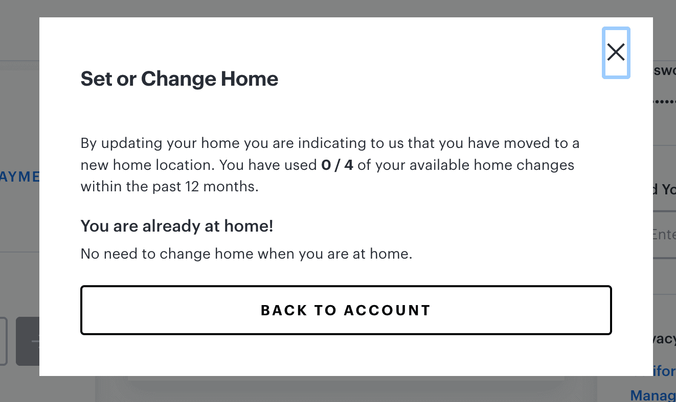 Trying to change Hulu + Live TV home location