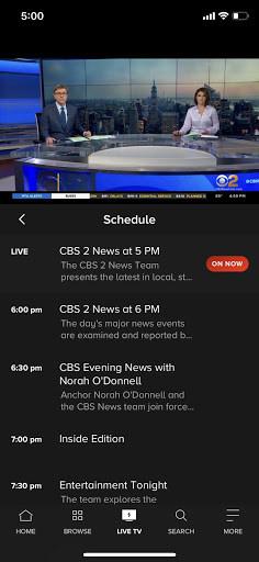 Paramount Plus' live TV on iOS.