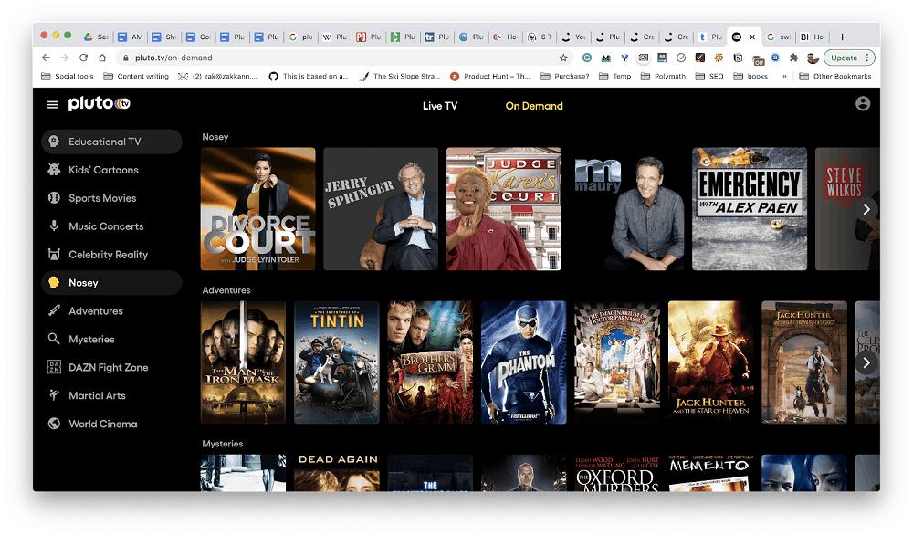 Using Pluto TV's web app
