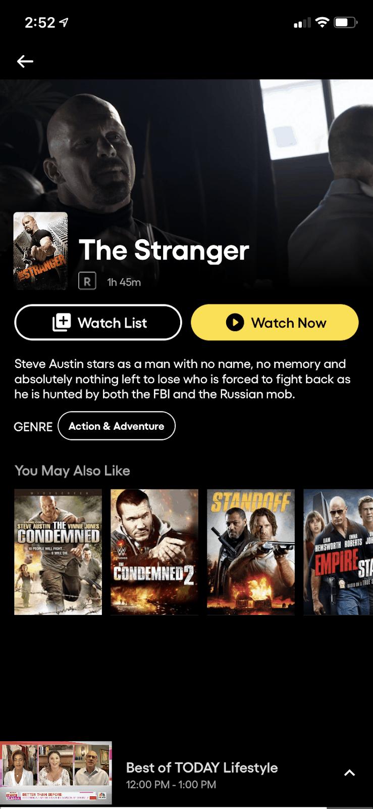 Pluto TV running on iOS