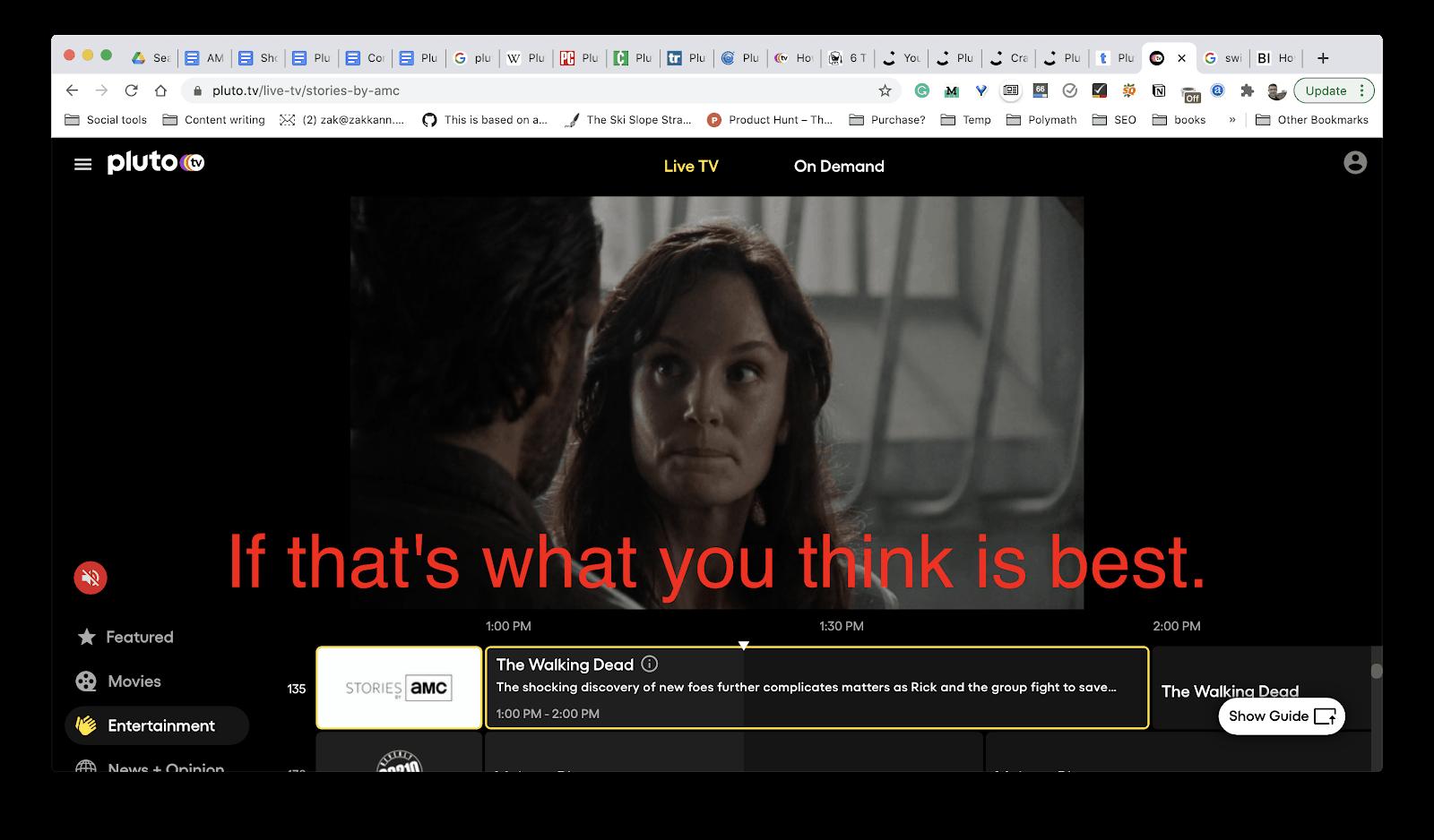 Pluto TV closed captioning