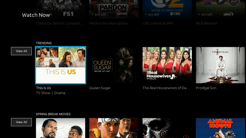 AT&T TV Watch Now screen on Fire TV