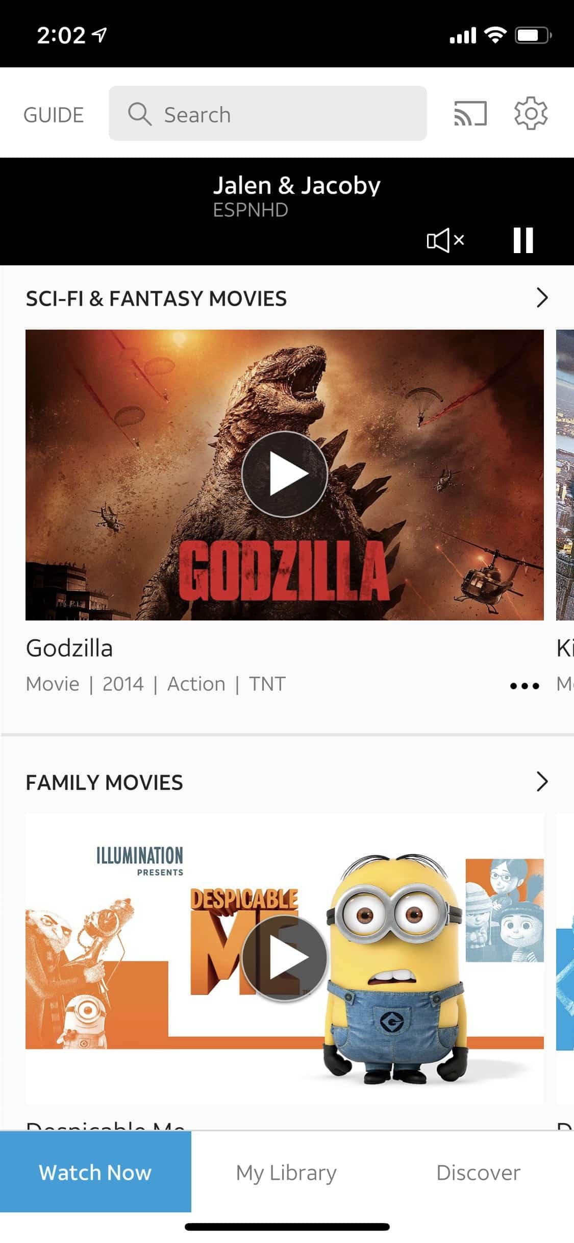 AT&T TV iOS menus