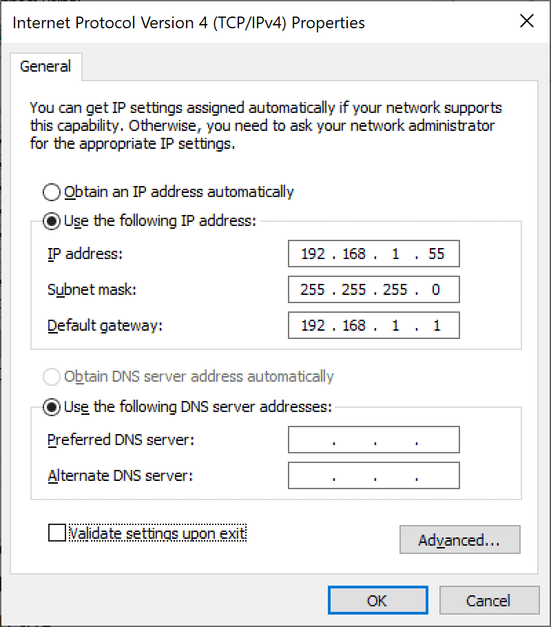 Configuring IP settings on PC