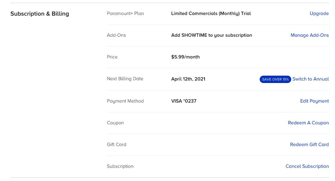 Paramount Plus cancel subscription option