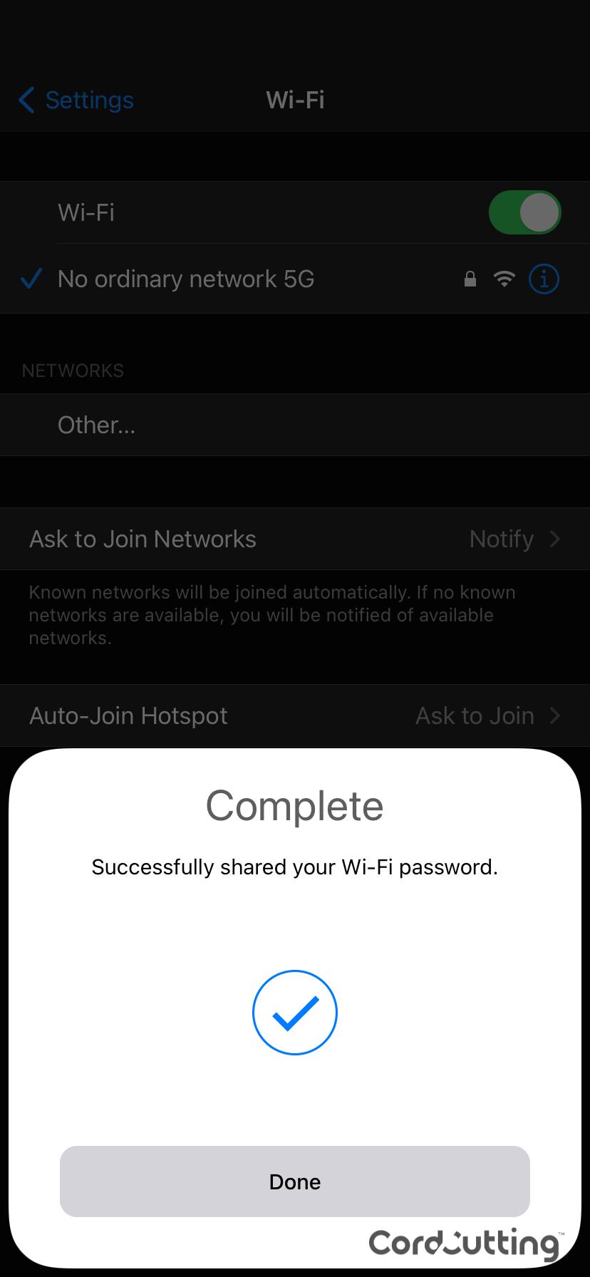 iOS Wi-Fi share step 3